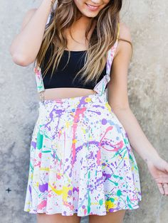 Splatter Pinafore Pocket Skater Skirt – LIMITED (WW $80AUD / US $64USD) by Black Milk Clothing