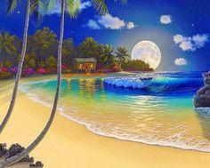 Giclee Art oil painting Print on canvas Al Hogue Hawaiian Seascape Moon night I Hawaii Landscape, Nature Artists, Beautiful Moon, Tropical Art, Tropical Prints, Fantasy Landscape, Beach Art, Beautiful Landscapes, Strand
