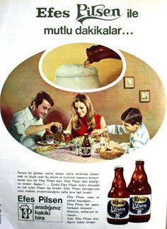 OĞUZ TOPOĞLU : efes pilsen ile mutlu dakikalar 1970 senesi nostal... Retro Ads, Retro Vintage, Turkey Country, All Beer, 90s Nostalgia, Old Paper, Vintage Travel, Advertising, History