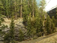 Updated Feb worked on Log Loading area backdrop, adding brush, trees and a little more depth.Updated Jan went back to yard section, added Oil Tank for Locomotives. Ho Trains, Model Trains, Black Sabbath Album Covers, Ho Train Layouts, Train Table, Railroad Tracks, Scrubs, Pond, Backdrops