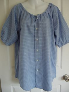 .....Peasant Blouse upcycled from a men's shirt 52 by CasualCallipipper.