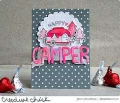 Happy Camper Valentine Card, Featuring Lawn Fawn