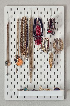 IKEA Jewelry organization, how to organize and store jewelry, how to store neckl. - IKEA Jewelry organization, how to organize and store jewelry, how to store necklaces and bracelets - Craft Storage, Jewelry Organizer Ikea, Bracelet Organizer, Ikea Pegboard, Kitchen Pegboard, Pegboard Storage, Storage Hooks, Kitchen Storage, Ideas