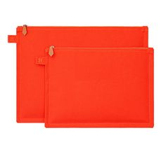 """Flat Cases Hermes set of two fire orange canvas cases. 100% cotton. Measures 8.3"""" x 11.4"""" and 10.2"""" x 14.2"""""""