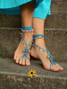 Blue HIPPIE BAREFOOT SANDALS crochet sandals beaded sandals foot jewelry beach wedding bohemian gypsy shoes crochet anklets. $75.00, via Etsy.