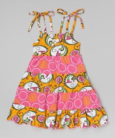 Take a look at this Orange Nouveau Flower Princess Dress - Toddler & Girls on zulily today!