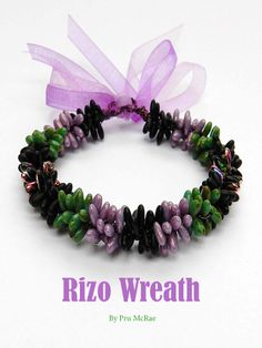 A lovely bracelet design using Rizo beads by Pru McRae - get the pattern here: http://www.joomag.com/magazine/digital-beading-magazine-issue-9-april-2014/0519819001398074185