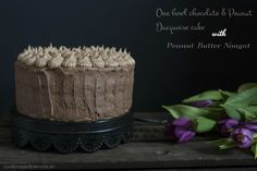 cookiesandsweets - One Bowl Chocolate and Peanut Dacquoise cake with Peanut Butter Nougat filling and Chocolate ganache frosting
