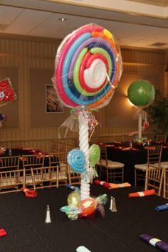 A Mitzvah Mom Creates Her Own Candy Centerpieces Sweet 16 Decorations, Quince Decorations, Balloon Decorations, Candy Centerpieces, Wedding Reception Centerpieces, Centerpiece Ideas, Candy Theme, Candy Party, Candyland