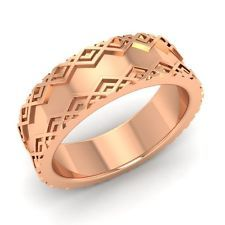 Unique Men's Wedding 6.5 mm Band / Ring In solid 10k Rose Gold-Free Engraving