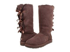 UGG Bailey Bow Tall - chocolate brown boots with shearling and bows on the back. What's not to like?!