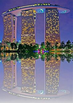 Singapore.   The top part of this is a huge casino and bars.   Most amazing modern building I've seen.