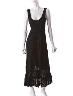 Black cotton knit dress with waist tie.