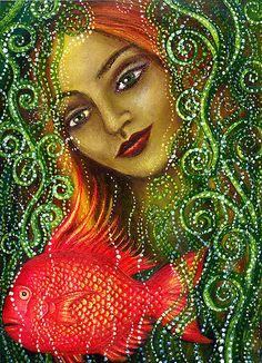 Mermaid and Fish by Alice Mason