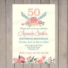 Adult Birthday Invitation 21st 30th 40th 50th por VividLaneDesigns
