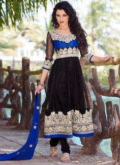 Stunning Black Net Churidar Suit