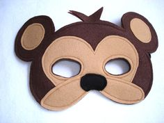 Children's Safari Animal MONKEY Felt Mask by magicalattic on Etsy Homemade Face Moisturizer, Homemade Face Masks, Monkey Mask, Le Zoo, Printable Masks, Animal Masks, Felt Diy, Felt Fabric, Safari Animals