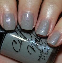 """cult nails """"disciplined"""" - sheer grey with heavy pink and blue shimmer."""