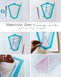 Painting Steps for this EASY ART Watercolor Gem Easy Art work! Delineateyourdwelling.com