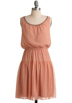 Want a Peach of Me Dress - Mid-length, Solid, Beads, A-line, Sleeveless, Party, 20s, 30s, Orange, Spring