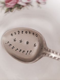 "Personalised Handstamped Vintage Coffee Spoon ""Espresso Yourself"" £8.00"