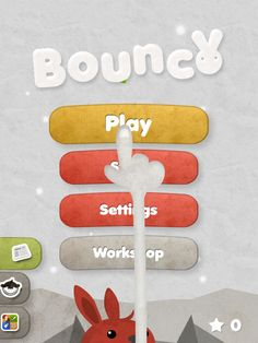 cartoony cute title/home/menu screen for mobile game Bounce. Play, settings buttons, and smaller buttons down the side.
