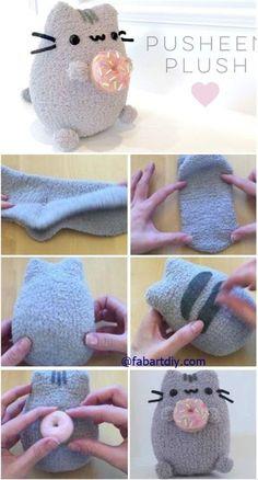 "DIY Donut Pusheen Cat Sock Plush Softie Tutorial (Video), an easy sew animal toy. DIY Donut Pusheen Cat Sock Plush Softie Tutorial (Video), an easy sew animal toy for kids and ""ki Sock Crafts, Cute Crafts, Felt Crafts, Sewing Crafts, Sewing Projects, Crafts For Kids, Sewing Toys, Kids Diy, Easy Projects"