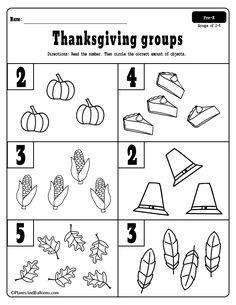 Thanksgiving math activities for preschool and kindergarten