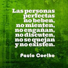 Las personas  perfectas no beben,  no mienten, no engañan no discuten, no se quejan, y no existen.