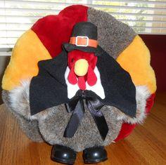 "Stuffed Plush Turkey 13"" Tall ~ Pilgrim Hat ~ Thanksgiving Fall Table Decoration"