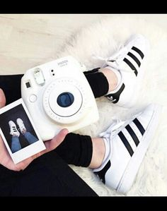 Fujifilm Instax Mini 8 Camera on We Heart It Polaroid Instax, Instax Mini Camera, Fujifilm Instax Mini 8, Polaroid Cameras, Organizar Instagram, Polaroid Pictures, Adidas Shoes Women, Adidas Outfit, Adidas Shirt