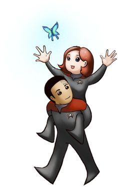 Cute - Janeway and Chakotay