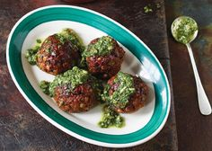 The staff at The Meatball Shop in Manhattan eat these around the clock You'll often find them at the bar with a big bowl of these and a side of steamed or sautéed spinach You can also top with Spinach-Basil Pesto