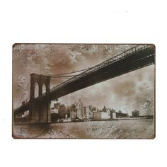 Cuadro de metal impreso vintage BROOKLYN BRIDGE 20 x 30 cm