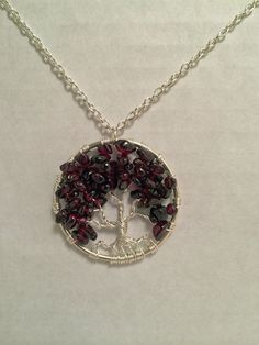 Garnet Tree of Life Necklace Garnet Pendant by Just4FunDesign