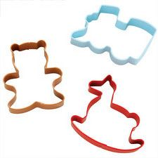 Train, Bear and Rocking Horse Cookie Cutter Set by Wilton Filled Cookies, Cut Out Cookies, Christmas Names, Decorator Frosting, Christmas Cookie Cutters, Cookie Cutter Set, Holiday Cookies, Train