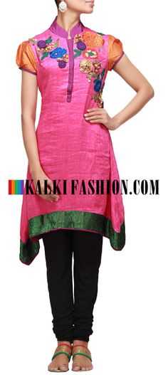 Buy Online from the link below. We ship worldwide (Free Shipping over US$100) http://www.kalkifashion.com/pink-kurti-enhanced-with-resham-and-gotta-patti-work.html Pink kurti enhanced with resham and gotta patti work