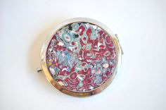 Compact Mirror with Burgundy, Metallic Silver, Silver Leaf  Polymer Clay design on Etsy, $15.00