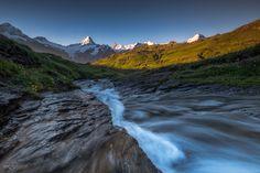 "Schreckhorn - the ""Schreckhorn"" in Bernese Alps in the first sunlight."