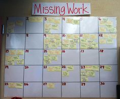 Great idea to keep track of Missing Work. Students take their post-it off and attach it to their late work. Picture only. This wouldn't work so much with my 160 students.but this idea may lead to other great ones for tracking missing work😊 Classroom Organisation, Teacher Organization, Teacher Tools, Classroom Management, Teacher Resources, Teaching Ideas, Organizing Ideas, Teacher Desks, Middle School Management