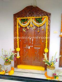 Decor by Krishna AP/ Telangana/ Karnataka/ Tamilnadu/ USA/Australia Door Flower Decoration, Wedding Door Decorations, Housewarming Decorations, Diwali Decorations At Home, Background Decoration, Festival Decorations, Flower Decorations, Wooden Front Door Design, Main Door Design