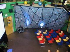 Indoor rock-climbing wall, with flexible classroom space.  Youth/Sunday School/Conferences. *Of course, there could be security risks.*