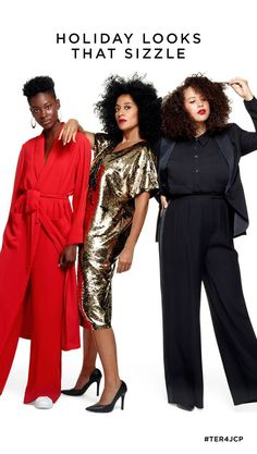 5b114ad09f3 Tracee Ellis Ross brings you three holiday looks guaranteed to turn heads.  A head-to-toe fabulous red look. A black and gold reversible sequin dress.