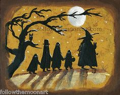 Trick or Treat Night WItch Ghosts & Bats Halloween Wall Art Print