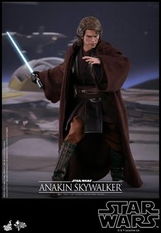Star Wars Episode III - Scale Anakin Skywalker Collectible Figure From Hot Toys Star Wars Collection, Movie Collection, Star Wars Characters, Star Wars Episodes, Coleccionables Sideshow, Light Up Lightsaber, Jedi Outfit, Star Wars Models, Star Wars Jedi