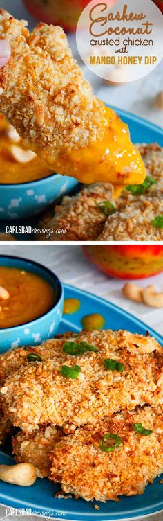 Crispy Cashew Coconut Chicken Tenders with Mango Honey Dip! I am IN LOVE with these! Sweet and spicy, crispy and tender. Everyone will think you slaved away on this easy tropical chicken! | Carlsbad Cravings