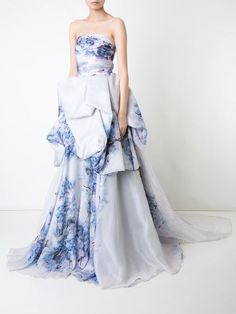 White and blue silk strapless printed bustled ballgown from Isabel Sanchis. #Ad