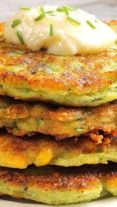 Zucchini Corn Fritters Recipe Brunch this morning. Super easy and tasty!