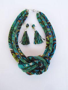 African earrings/ tassel earrings/ long fabric earrings by nad205