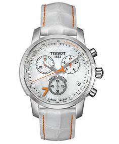 Tissot Watch, Women's Swiss Chronograph SRC 200 Danica Patrick Diamond Accent White Leather Strap T0144171611600 - Limited Edition